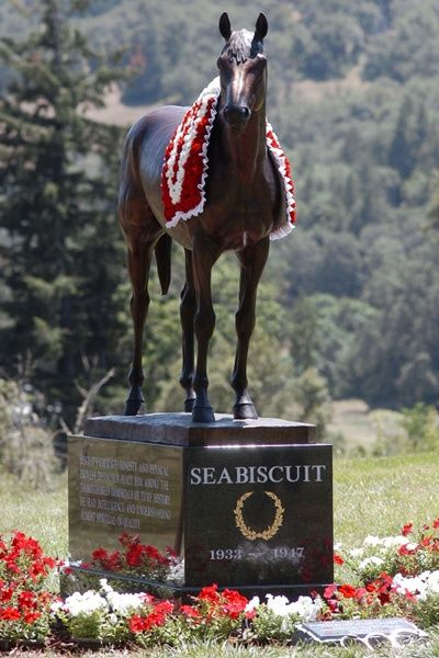 Seabiscuit - Champion Thoroughbred racehorse in the United States. A small horse, Seabiscuit had an inauspicious start to his racing career, but became an unlikely champion and a symbol of hope to many Americans during the Great Depression.