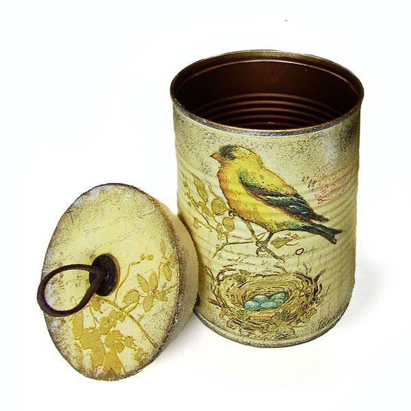 DEKUPAJ+KOLEKSİYON+-+sarı+zeminde+kuş+desenli,+kapaklı+teneke+kutu