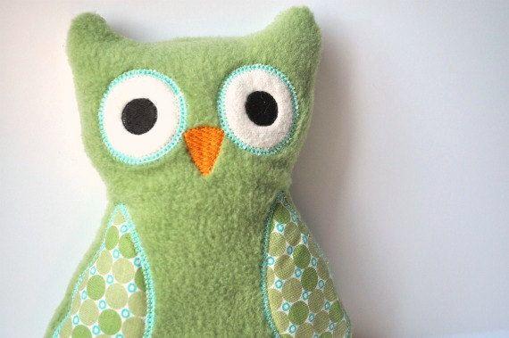 Plush Owl  Green Owl Stuffie  Cute Owl Toy Plush  by BirdieAndDot, $15.00