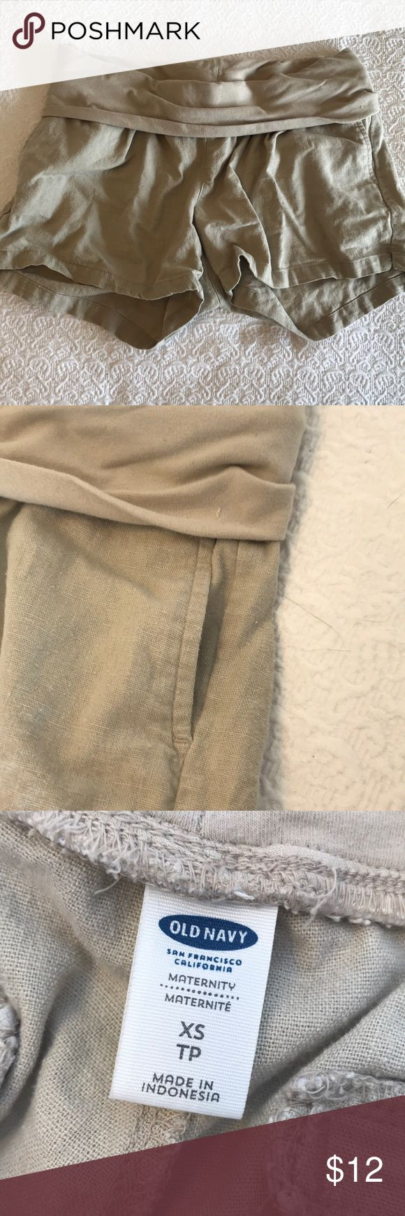 Linen under the belly maternity shorts Fold over top under the belly maternity shorts from Old Navy in tan linen. Also works for non maternity, as the waist is quite stretchy. Very comfortable and breezy for summer. Will bundle. Old Navy Shorts