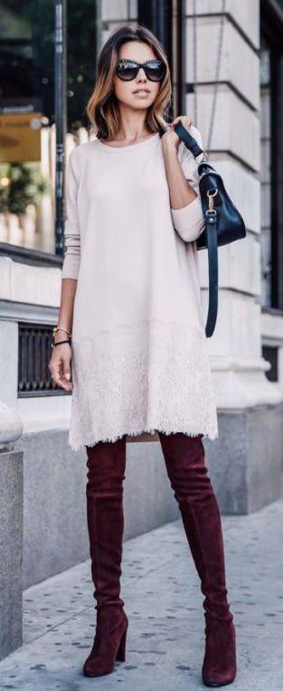 #fall #fashion / knit dress + knee length boots
