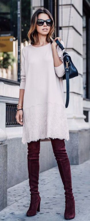 #fall #fashion / knit dress + knee length boots