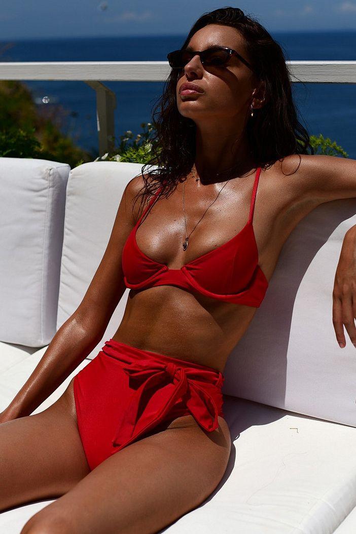 32b08b22bca Sexy Straps Red Bikini with High Waisted | Swimwear in 2019 | Bikinis,  Swimsuits, Swimwear