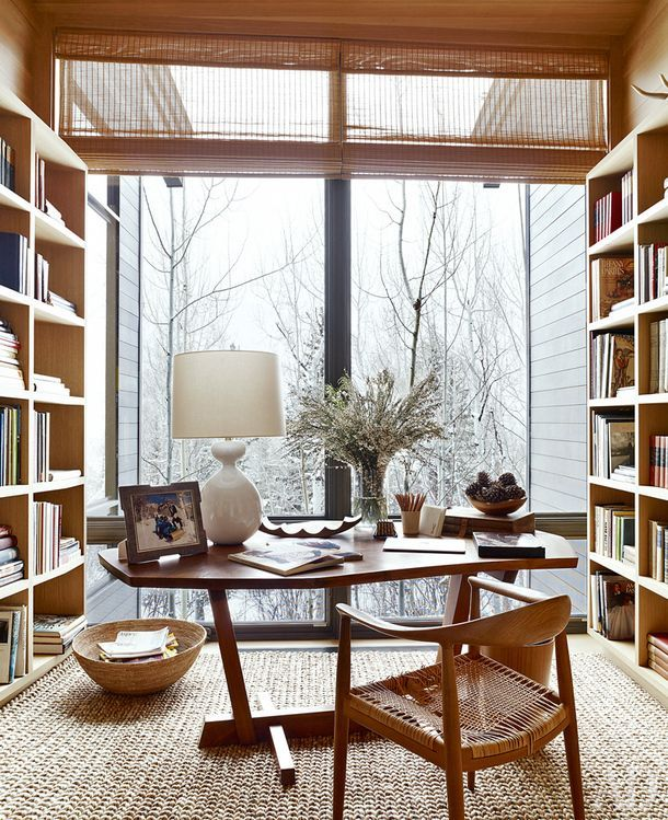 Modern Home Office Design With Natural Wood Decor And Floor To Ceiling  Built In Shelves