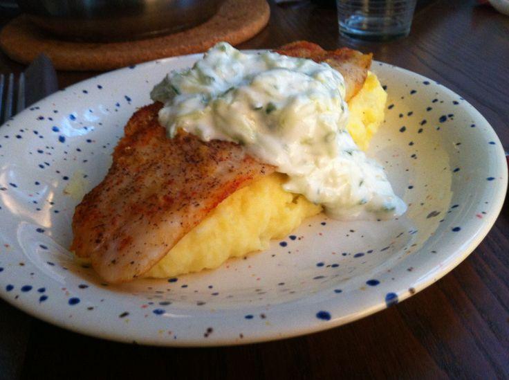 Oven-grilled lemony sunfish with creamy mashed potato and garlic-cucumber yoghurt