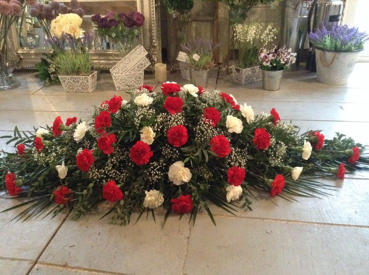 Red and white carnation coffin spray, casket spray, funeral spray…