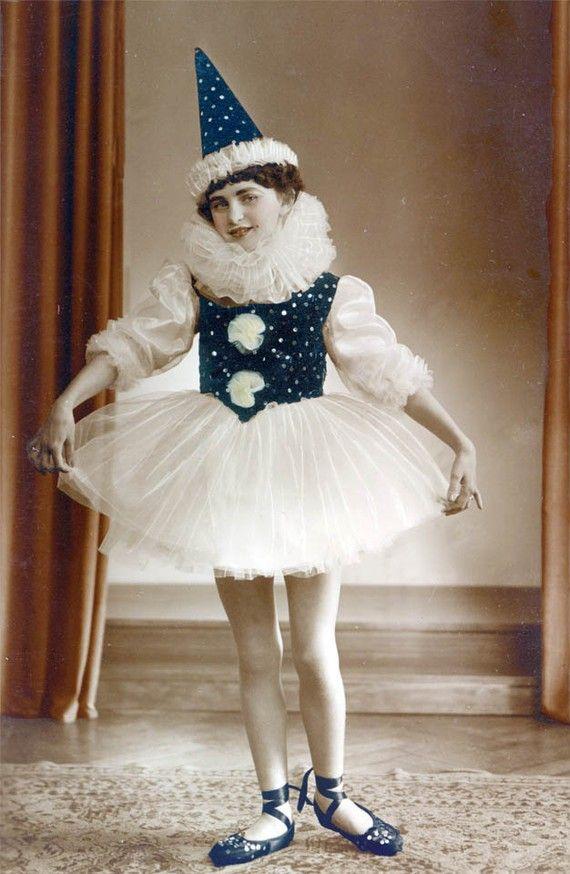 Girl w Ballet Pierrot  Costume photo by maclancy on Etsy, $22.00