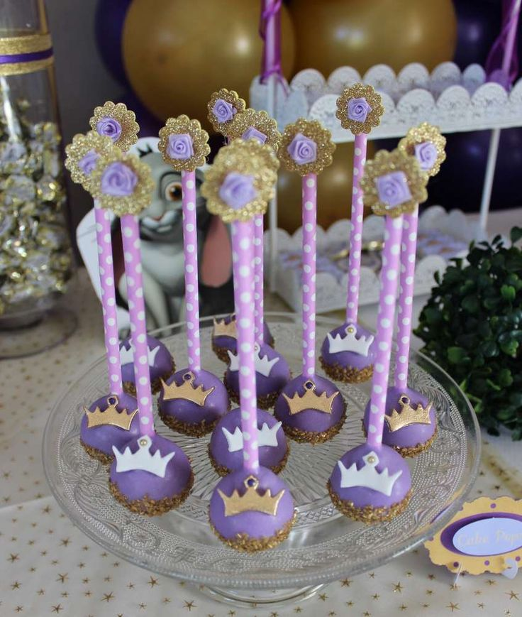 Royal cake pops at a Sofia the First birthday party! See more party ideas at CatchMyParty.com!
