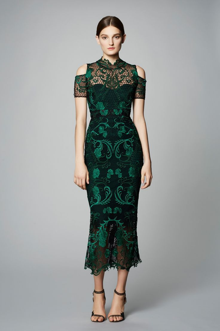 Marchesa Notte Pre Fall 2017: Lovely emerald green embroidered tea length dress with shoulder cutouts!