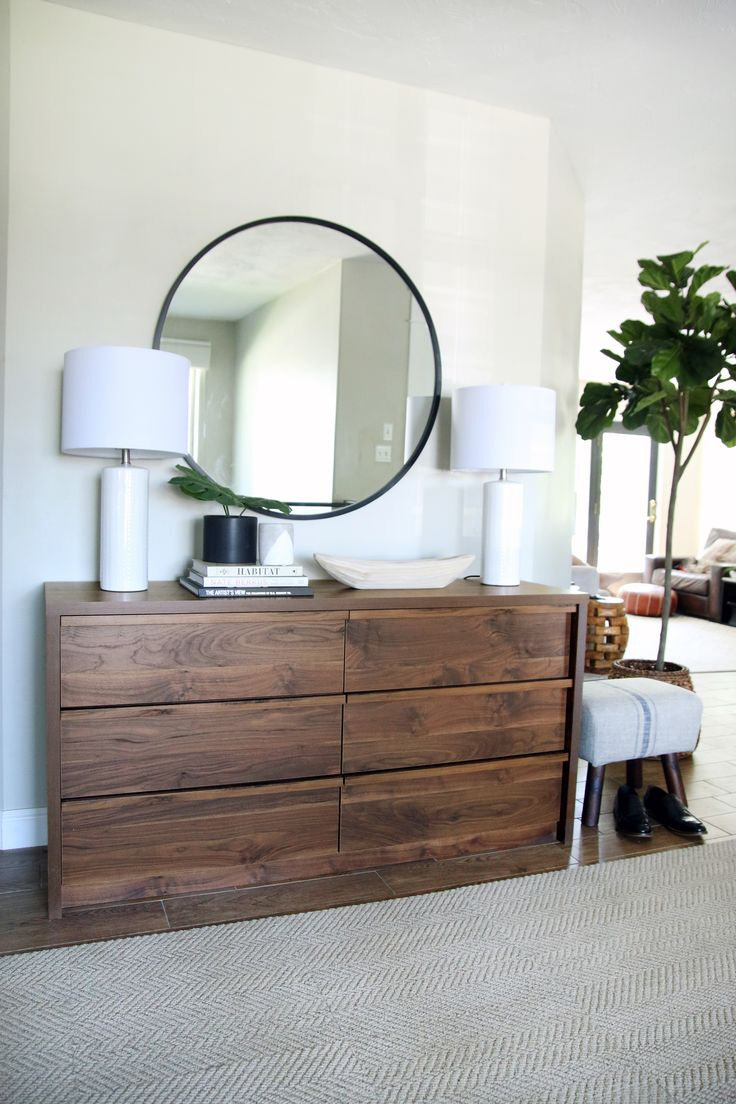 the dresser becomes the perfect entry way