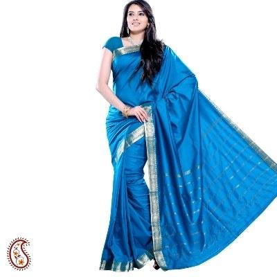 $15.64 Brandeis Rama Green  Silk Saree