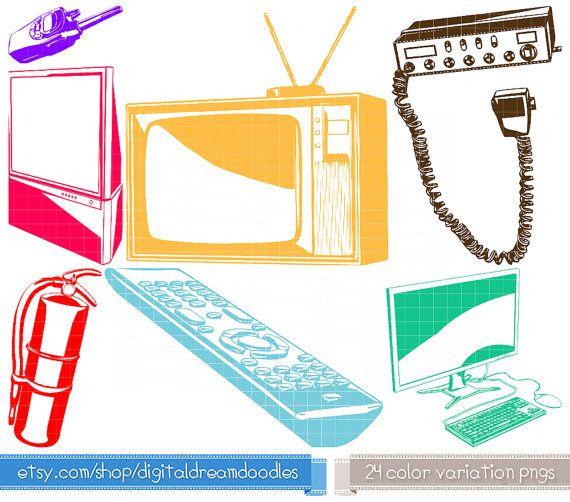 Retro Tech Clipart - Vintage Television Clipart, CB Radio Icon, Big Screen TV Remote Graphic, Walkie Talkie Image, Desktop Computer Clipart