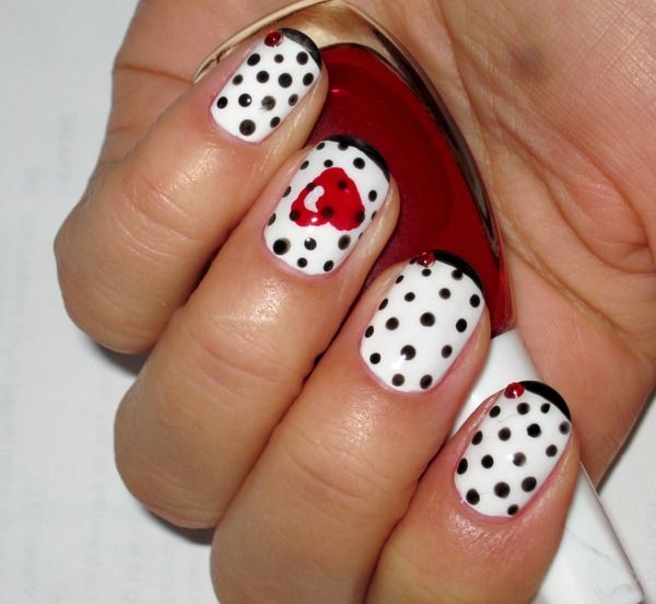 Retro Red Valentine's Day Heart with Black Polka Dot Nails