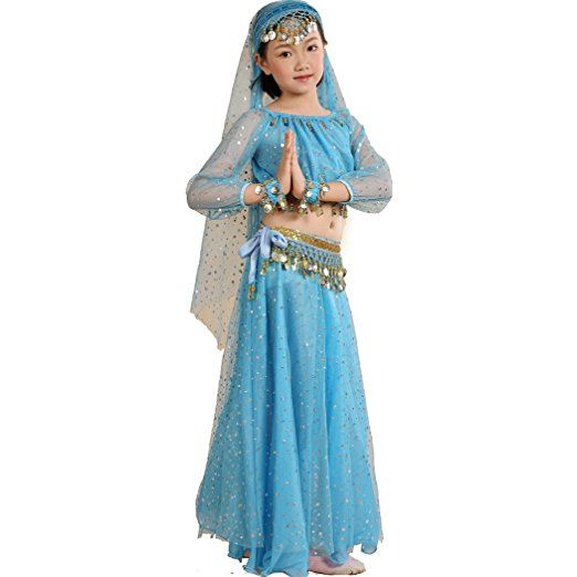 Amazon.com: Astage Girl`sElegant Belly Dance Set Siver Waist Chain Dark Blue L: Toys & Games