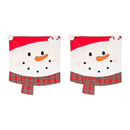 Plaid Snowman Christmas Chair Covers Set Of 2