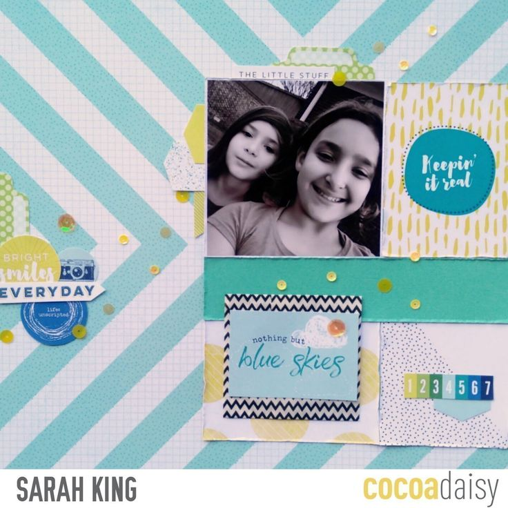 Nothing But Blue Skies, by Sarah King using the Real Life collection from www.cocoadaisy.com #cocoadaisy #kitclub #scrapbooking #layout #diecuts #grid #DITL #sequins #stamping #fussycut #stickers