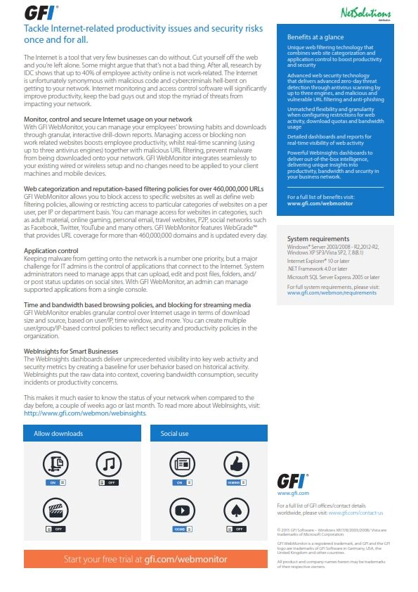 PT. #Netsolutions Infonet #GFI WebMonitor, you can manage your employees' browsing habits and downloads through granular, interactive drill-down reports