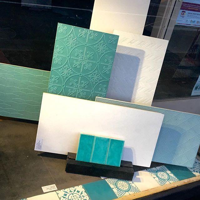 Today's window  #lovetiles #interiordesign  #ontrend #tiffanyblue #lovemyjob #interiordesign