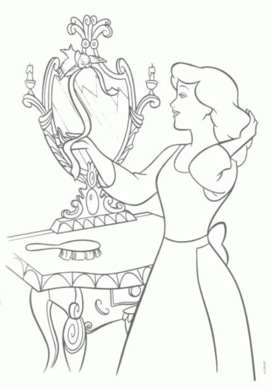 princess cinderella and bird coloring pages disneys