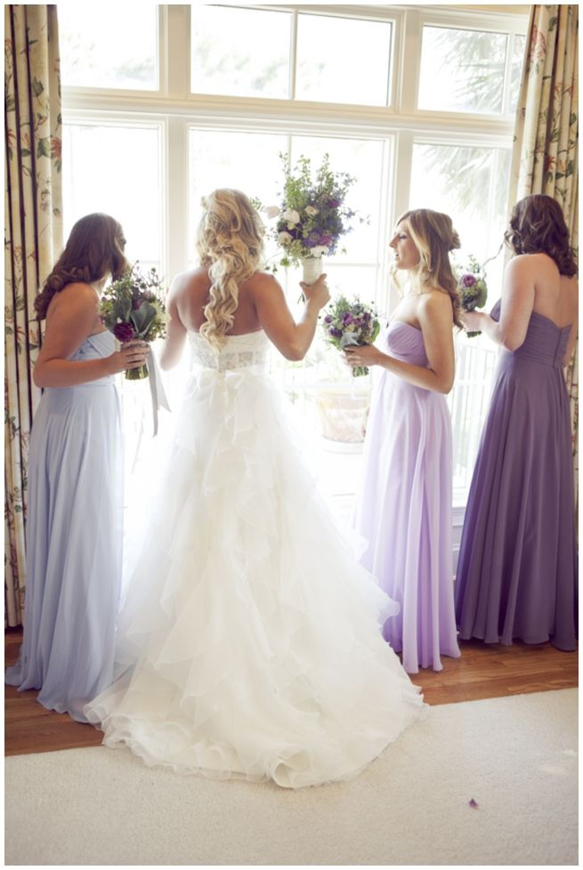 Another look at the mix of lavender, purple, and light blue bridesmaid dresses. There's something I like about this mix of colors!