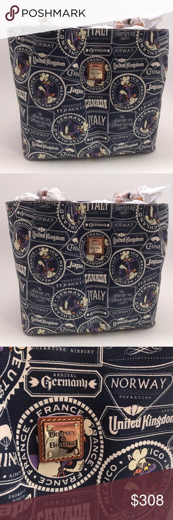 DOONEY AND BOURKE FOOD WINE FIGMENT LARGE TOTE NWT %100 AOUTHENTIC  SAME AS A PICTURE  COMES FROM DISNEY PARK STORE  SMOKE FREE PET FREE HOME Dooney & Bourke Bags Totes