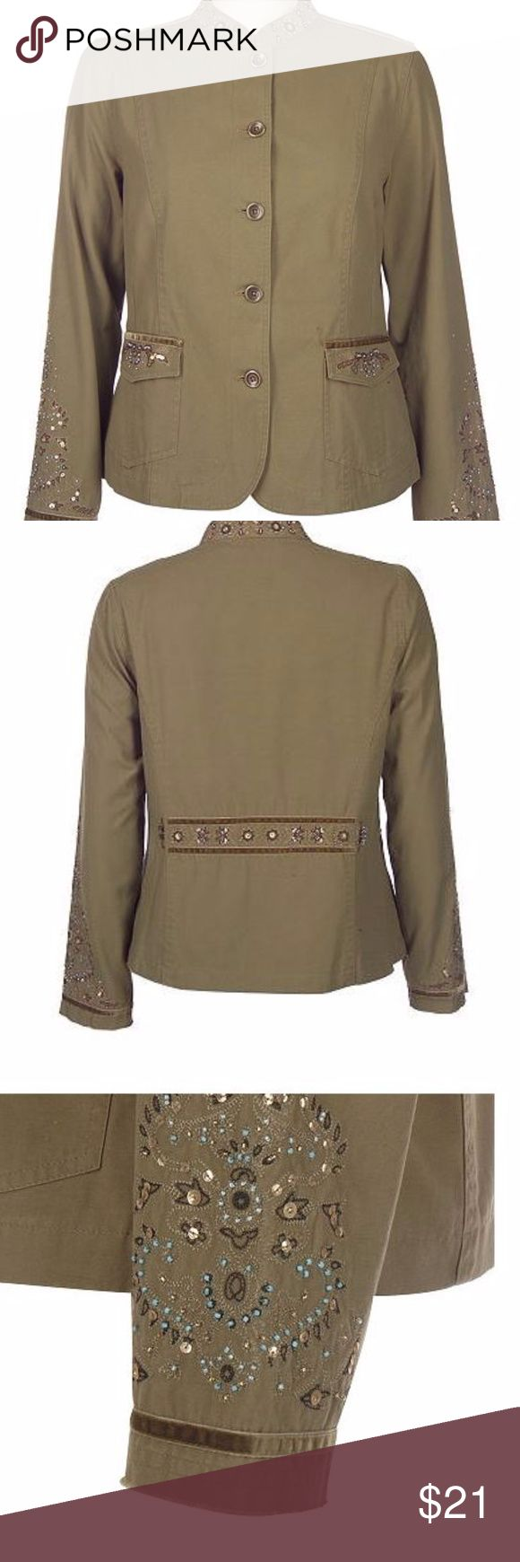 Motto - Olive Green Jacket - Large (14-16) Motto - Olive Green Jacket - Large (14-16) Velvet and bead embellishments boost the style of this canvas jacked.   Great piece to pair with jeans, dresses or skirts. Button down front.  Straight bottom hem. 100% cotton exclusive of decoration.  Machine wash, line dry. Motto Jackets & Coats