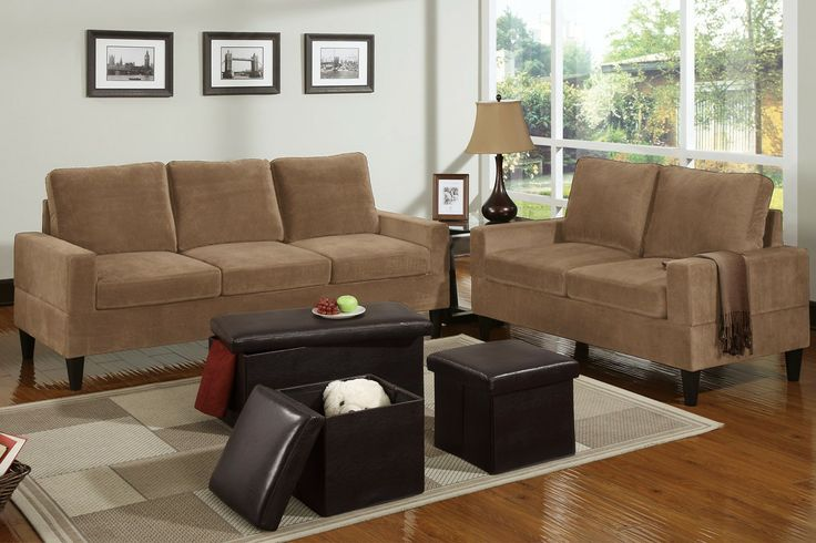 Sofa+Love Seat+ 3-Pcs Ottoman - A strong design of classic structure, this matching loveseat and sofa set is adorned in a smoothly textured fabric. Each piece is constructed with squared seating and backrests to suit a traditional décor living space. Compliment this set with an espresso 3-piece ottoman set in three sizes with storage capabilities.