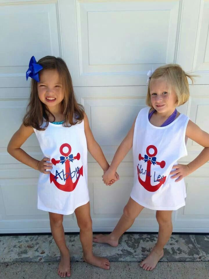 Girls Anchor Bow Swim Cover Ups