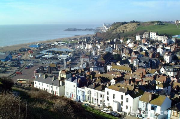 Hastings, England. (Home of Foyle's War.) Battle of 1066. Behind the photographer is a national park where my friend's sister lived. All that was there was about 6 very quaint townhouses and a Spanish restaurant, that had some of the best food I've ever had.