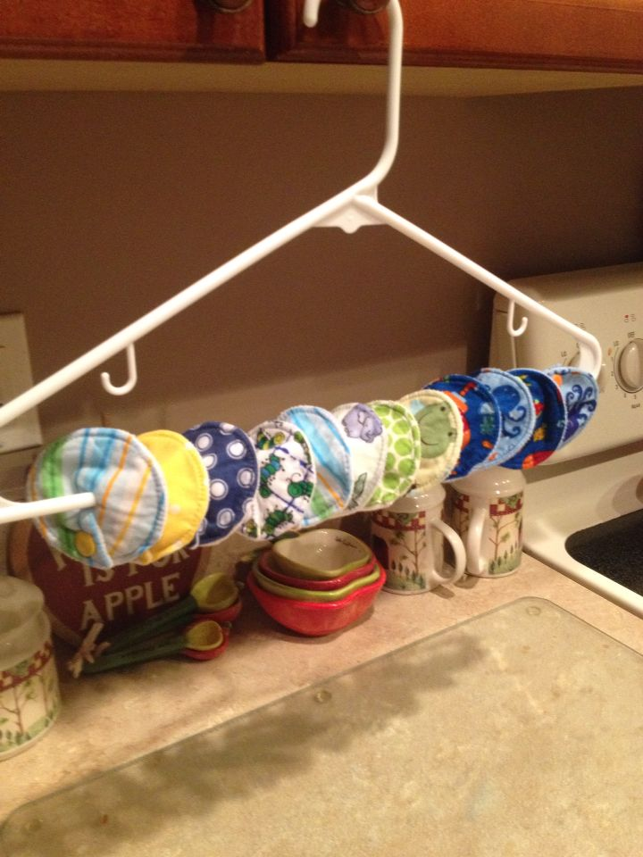 Easy way to dry gtube pads. Hope this might help other gtube moms and dads. Could also store them like this.