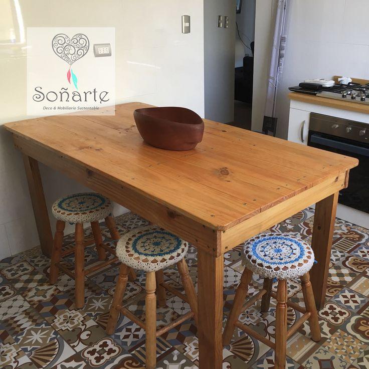 Pisos de madera con cubiertas tejidas en crochet. www.sonarte.cl