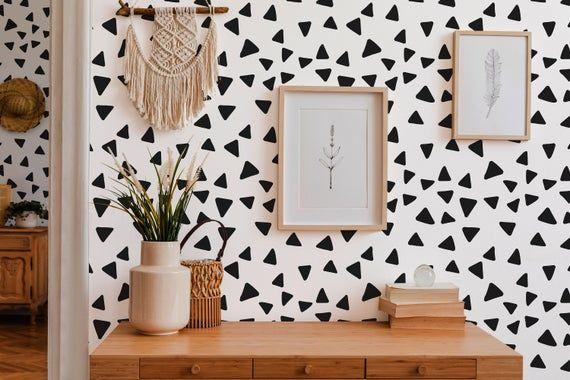 Geometric Triangle Peel And Stick Wallpaper Scattered Etsy In 2020 Peel And Stick Wallpaper Removable Wallpaper Home Wall Decor