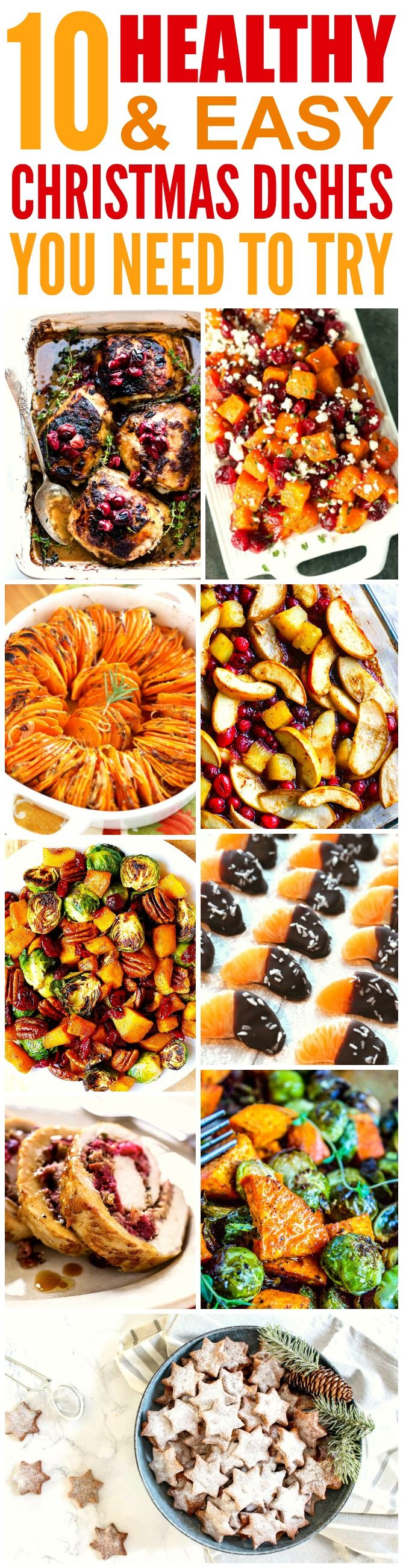 These 10 healthy and easy Christmas recipes are THE BEST! I'm so glad I found these AWESOME dishes! Now I have some great ides for the holidays! Definitely pinning for later!