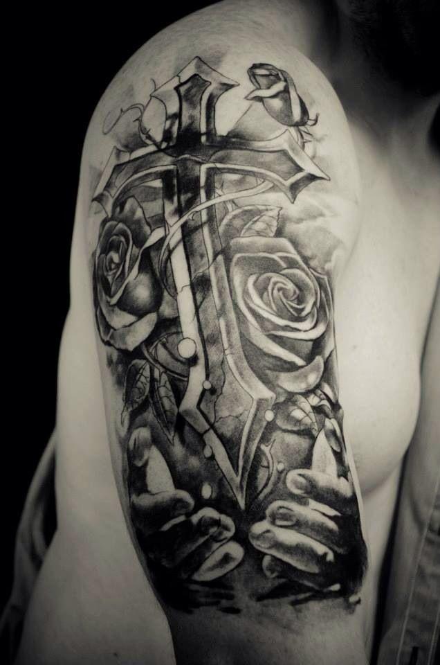 Holding cross and roses | Tattoos | Pinterest | Crosses ...