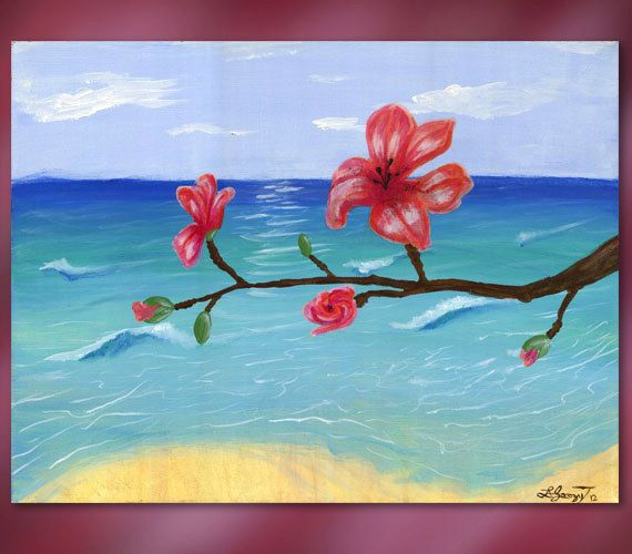 Easy acrylic painting on canvas easy essence original for Simple flower paintings for beginners