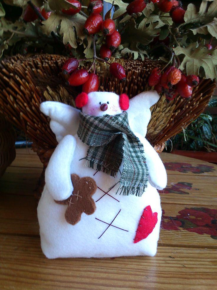 Preparando la navidad con este precioso mu eco de nieve de - Manualidades de navidad en tela ...
