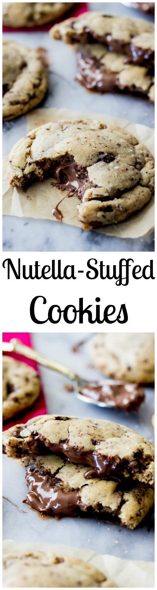 Nutella Stuffed Cookies - made with brown butter and sprinkled with sea salt! || Sugar Spun Run via /sugarspunrun/