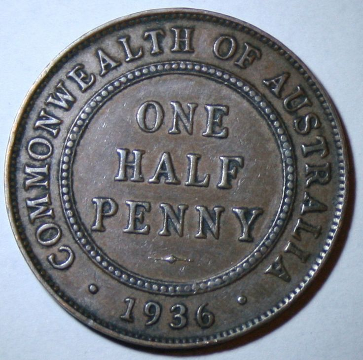Australian PRE Decimal 1936 Half Penny Coin With Visible Pearls ON Band   eBay