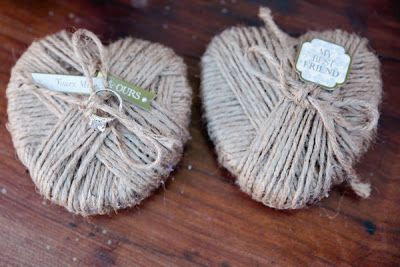 burlap ring bearer hearts at a vintage rustic wedding