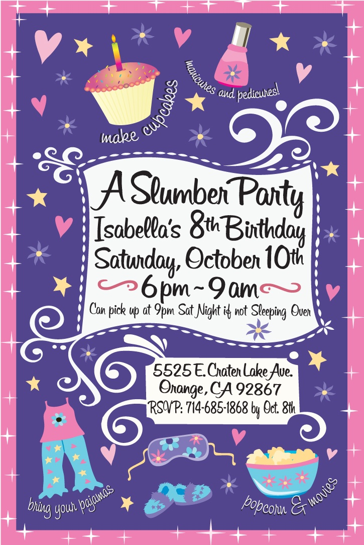 girls night sleepover birthday invitation