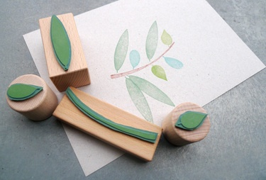 Set of stamps that can be used together in different ways. Different parts. Foam and wood