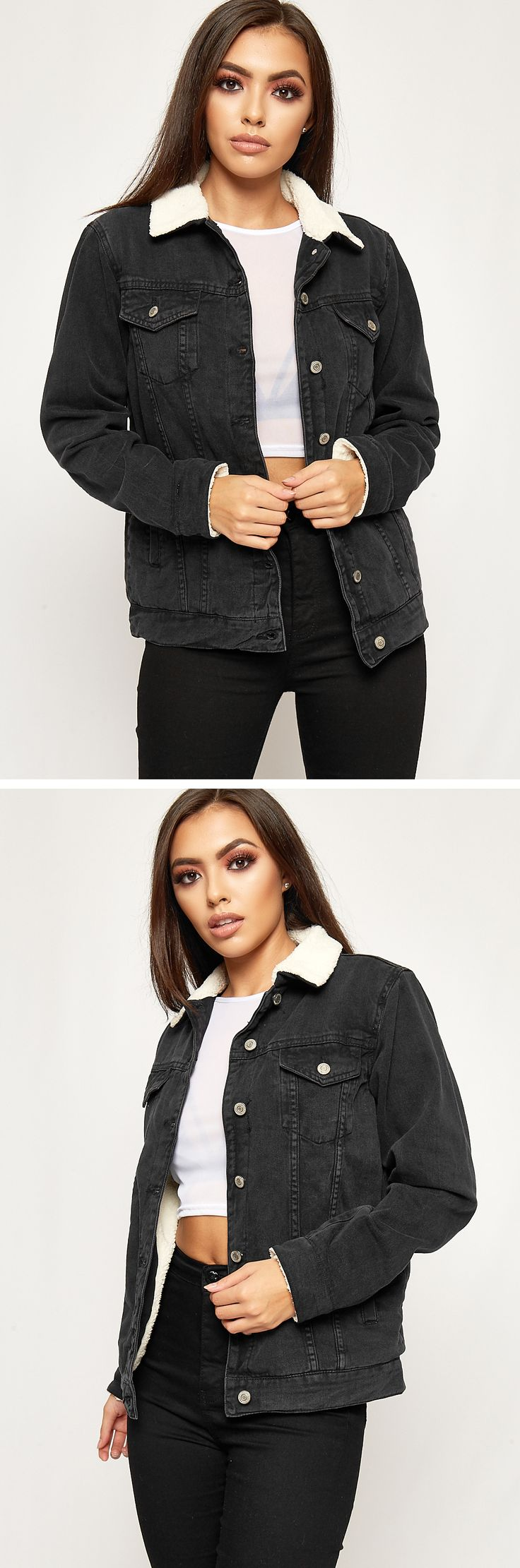Looking fierce in a classic denim borg jacket with faux fur fleece lining. Made from a soft and vintage look black denim and finished with a classic button up front look and a stunning fleece lined fabric. Pair with crop top and high waist jeans for a killer look this season.