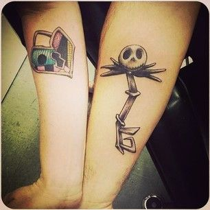 This Nightmare Before Christmas style lock-and-key-hole set. | 43 Adorable Couples' Tattoos That Will Stand The Test Of Time