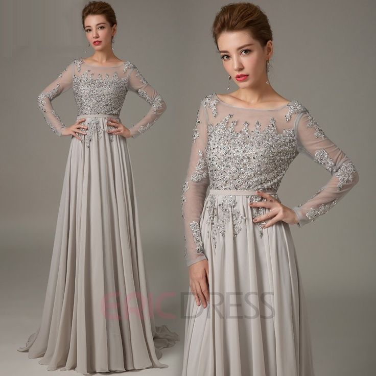 Mysterious Long Sleeves Backless Beading A-Line Evening Dress 3