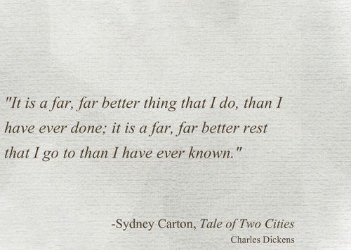 a tale of two cities sydney carton essay Sydney carton paid the highest cost of sacrifice with his life, and in doing so he was very similar to jesus christ carton laid down his life for a man who had never.