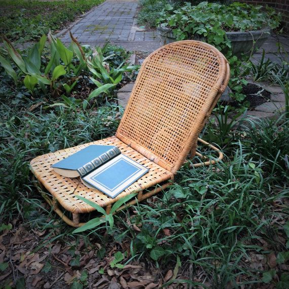 Vintage Canoe Chair Bamboo and Wicker Folding by AlegriaCollection