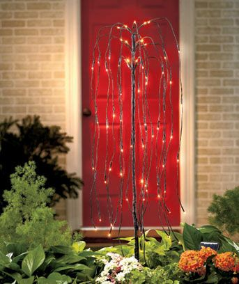 Brighten your yard or garden all year long with a Solar Lighted Willow Tree Stake. Not only does it offer a graceful, country style that looks beautiful day and night, it can even be used as part of your outdoor Halloween decor. Every PVC tape-wrappe