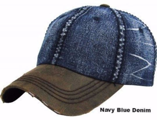 FLORIDA Flag Patch Dark Denim Distressed Baseball Cap