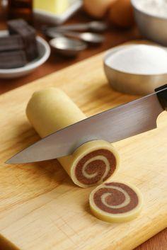 Chocolate-Vanilla Marbled or Pinwheel Cookies