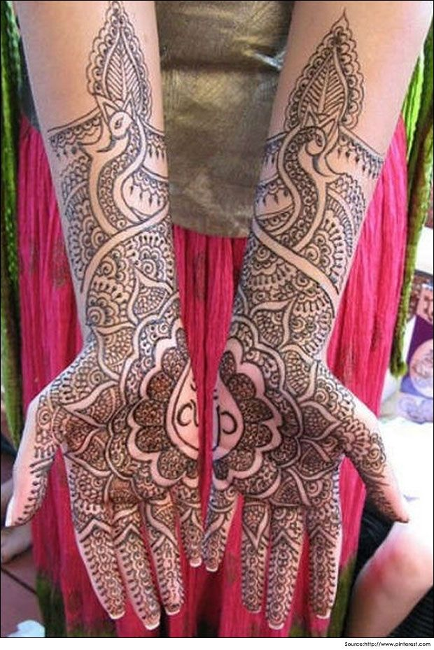 Clever bridal mehandi #design that forms a beautiful #pattern on the bride's hands.